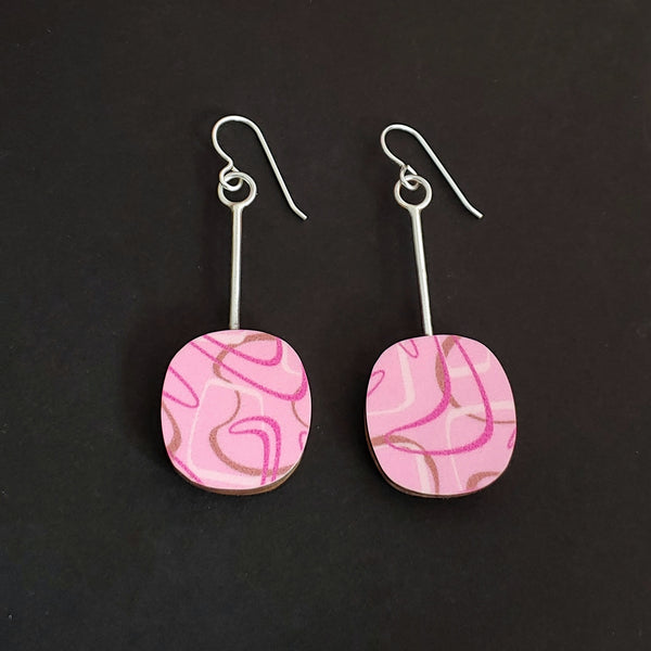 Pink Boomerang Laminate Soft Square Earrings