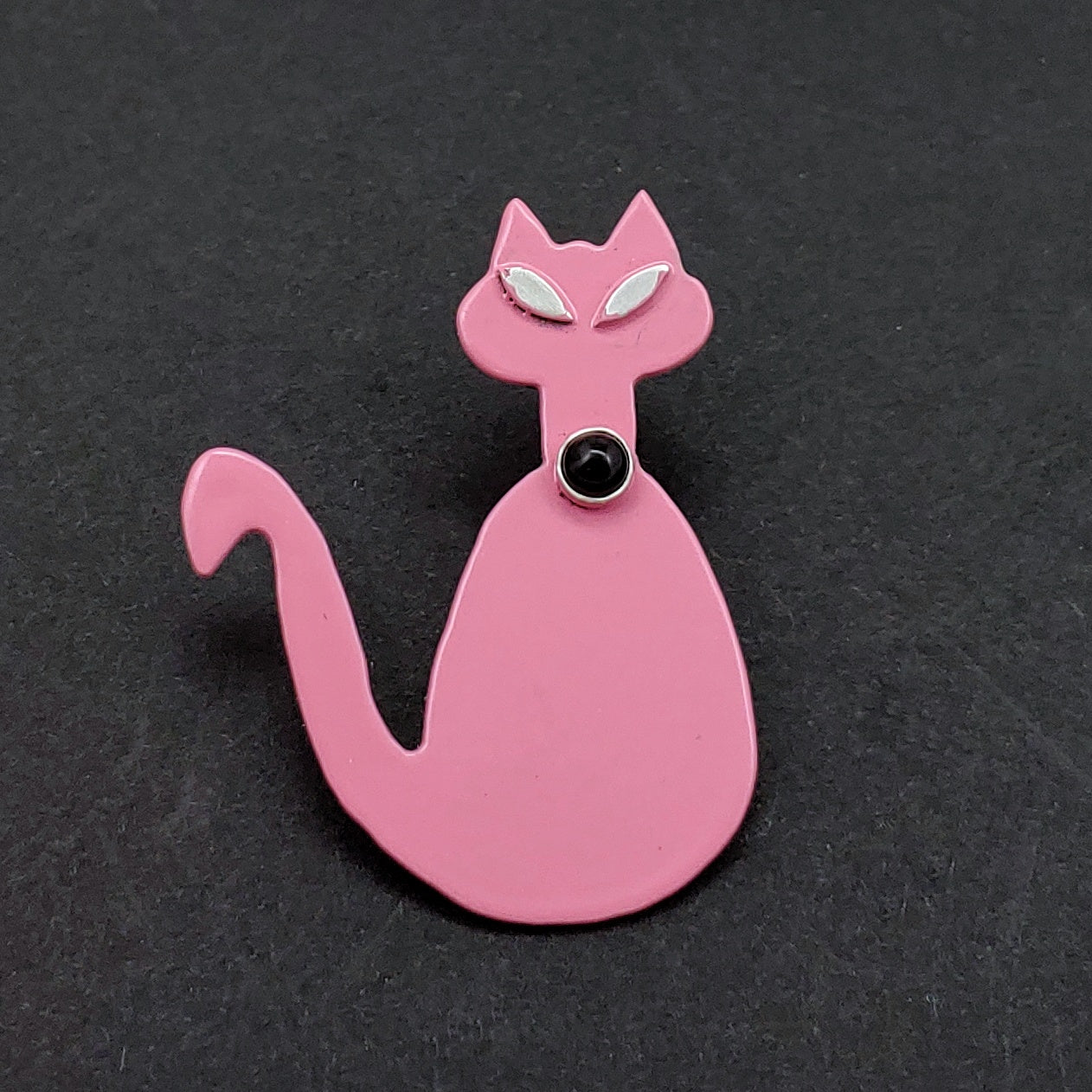 Mid-Mod Cat Powdercoated Pin/Brooch - Pink