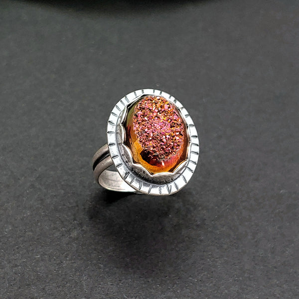 Orange and Pink Druzy Sterling Silver Ring
