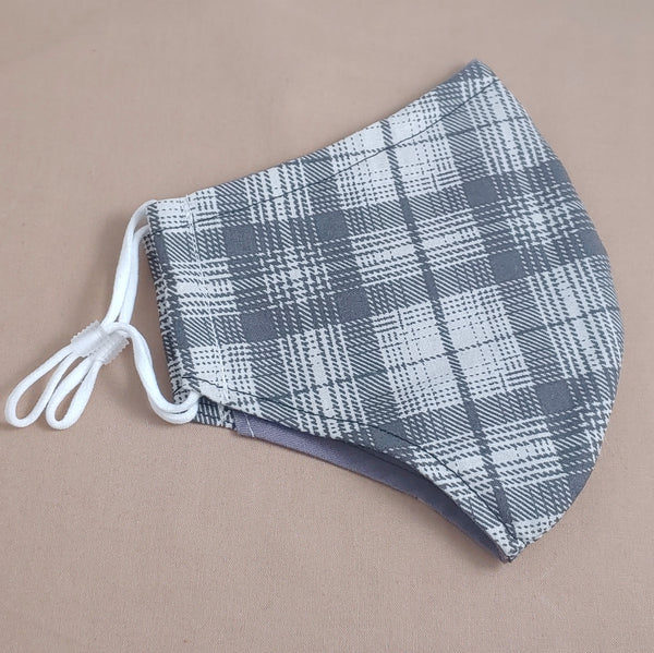 Grey Plaid Fabric Face Mask