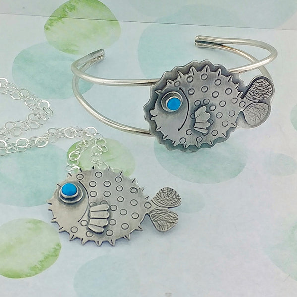 Puffer fish bracelet and necklace as options