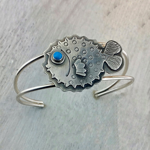 Puffer fish bracelet in sterling silver
