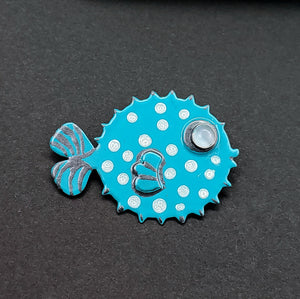 Puffer Fish Pin/Brooch - Turquoise and White