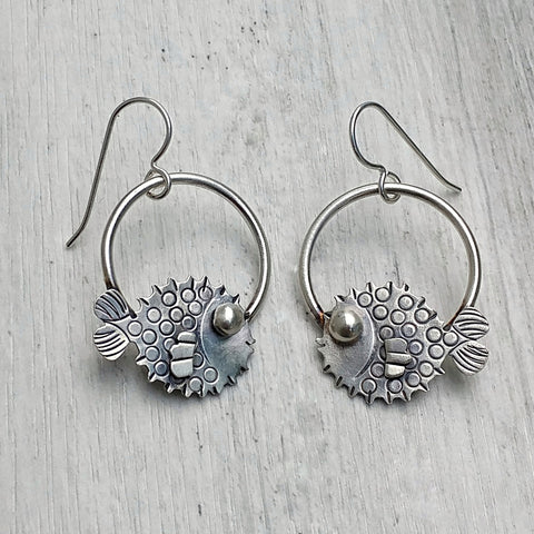 Sterling silver puffer fish earrings