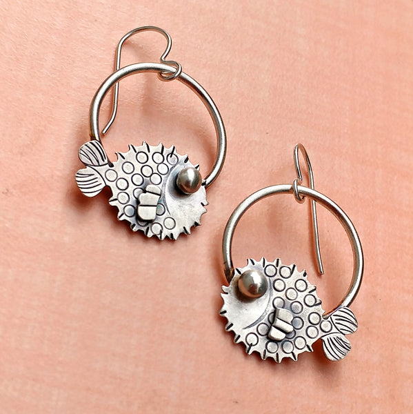 Handmade puffer fish earrings