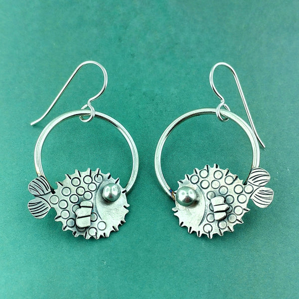 Puffer fish earrings made in sterling silver