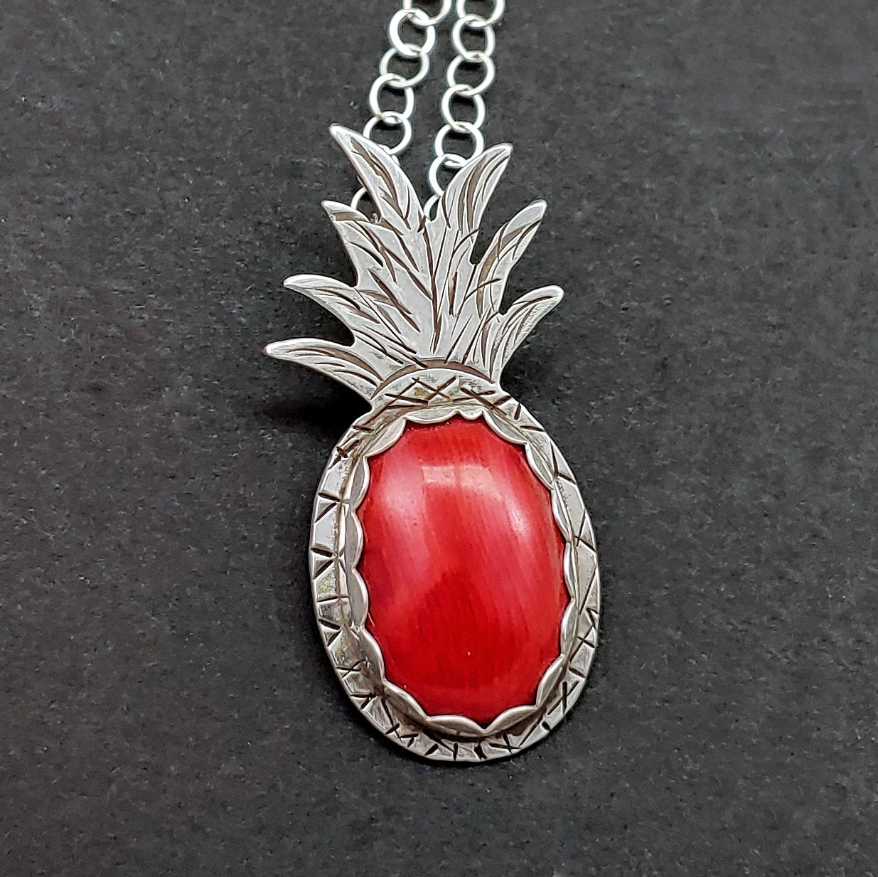 Pineapple Necklace with Red Coral
