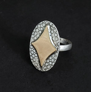 Retro Diamond in Brass on Silver Ring