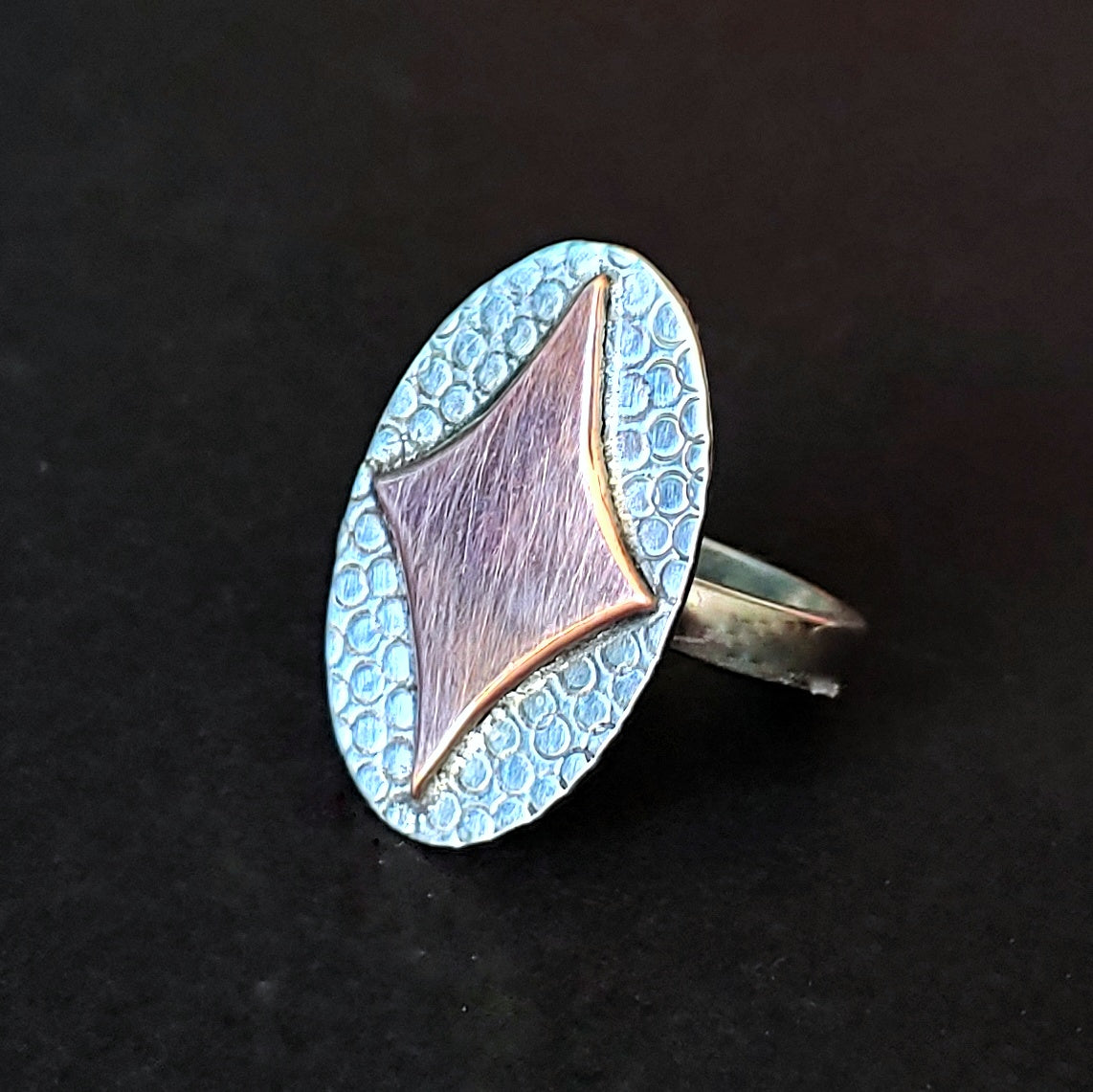 Retro Diamond in Copper on Silver Ring