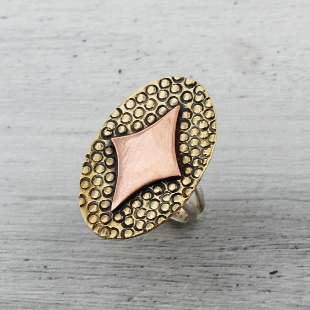 Retro Diamond in Copper on Brass Ring