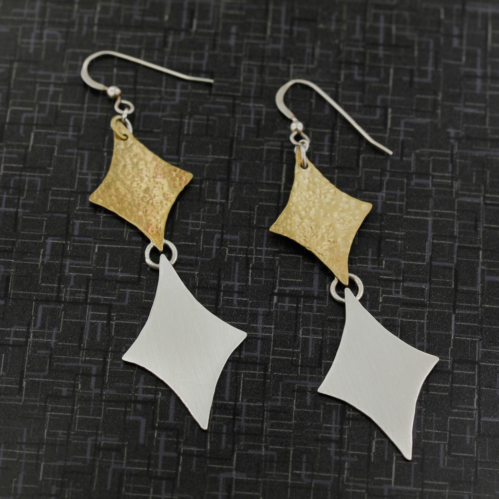 Retro diamond earrings in sterling silver and brass modernist style
