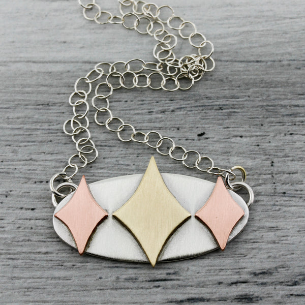 Sterling silver, copper, and brass retro diamonds necklace