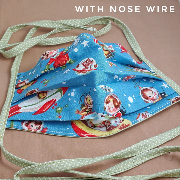 Retro Rockets Fabric Face Mask