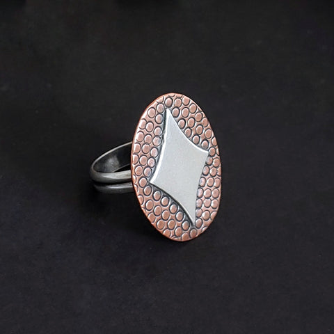 Retro Diamond in Silver on Copper Ring