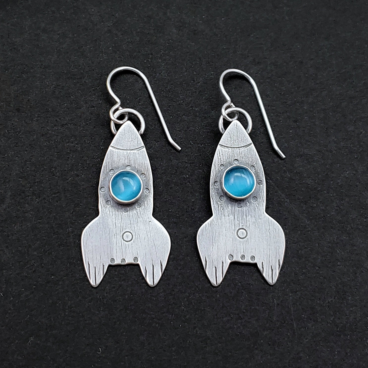 Rocket Ship Earrings - Turquoise Cat's Eye