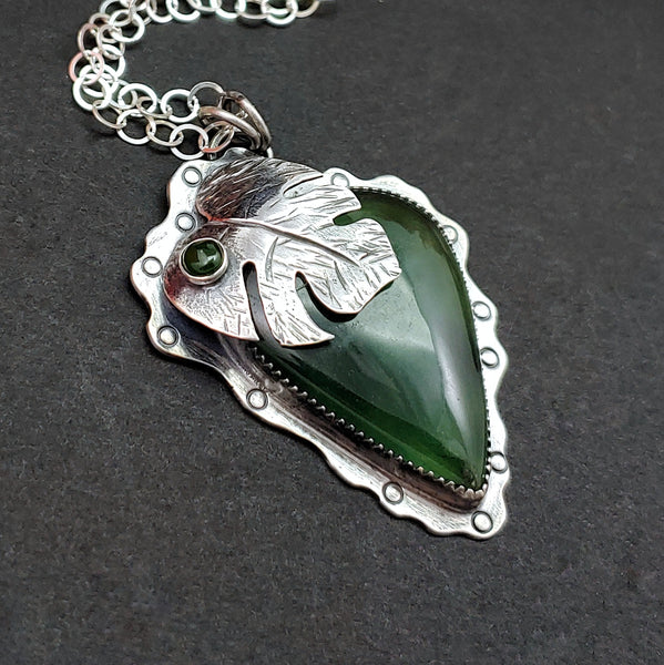 Monstera Leaf Necklace with Serpentine