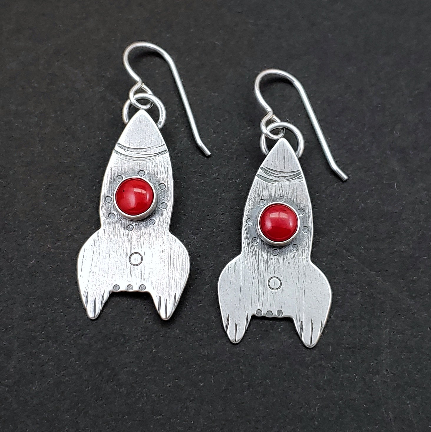 Rocket Ship Earrings - Red Coral