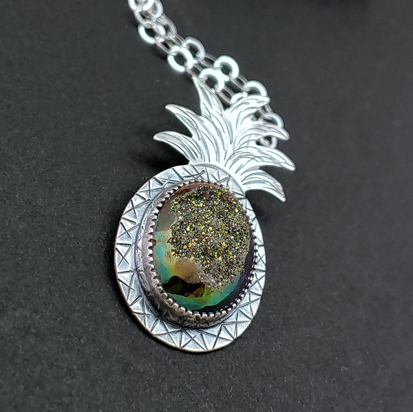 sparkly pineapple necklace in sterling silver