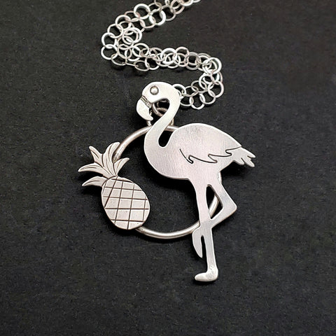 Flamingo with Pineapple Necklace