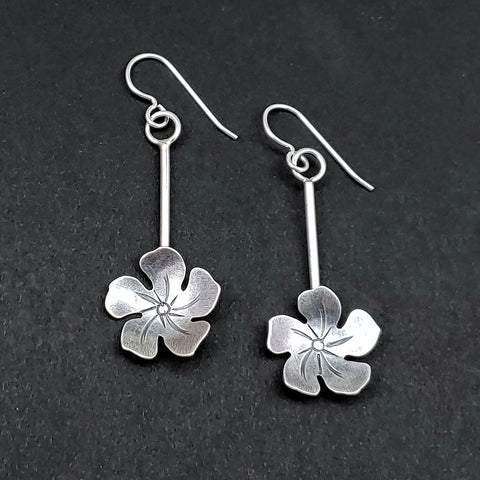 flower dangle earrings handmade in sterling silver