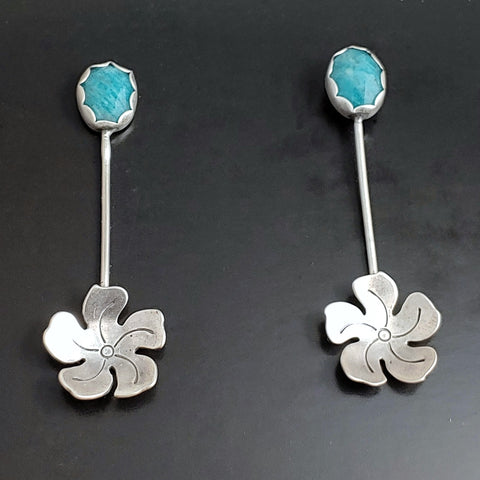 Sterling silver flower earrings with amazonite