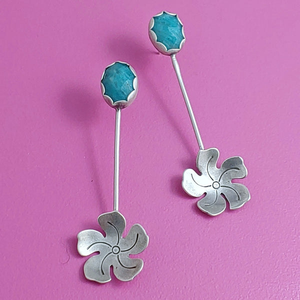 Sterling Silver Flower Dangle Earrings with Amazonite