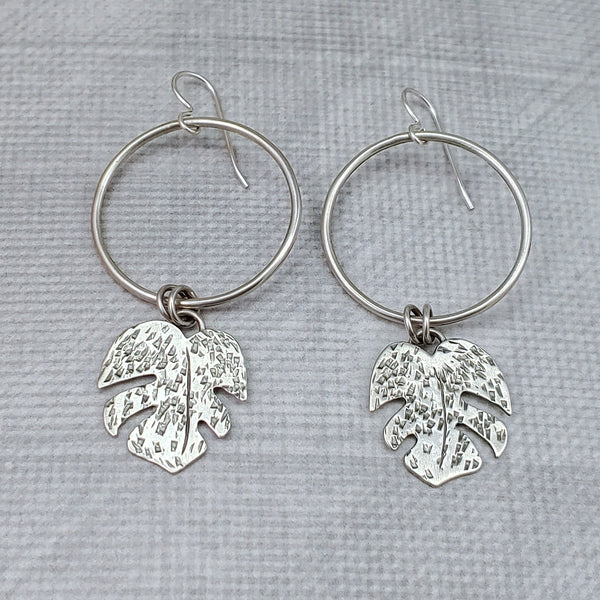 monstera leaf earrings sterling silver dangles