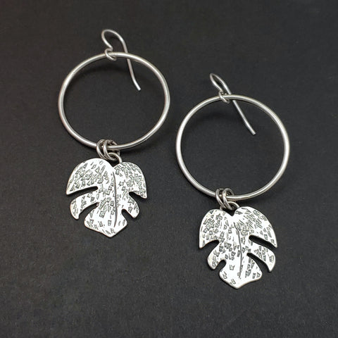 sterling silver monstera leaves dangling from circle hoops