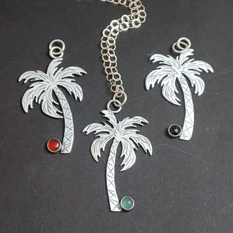 Sterling Silver Palm Tree Necklace w/Gemstone