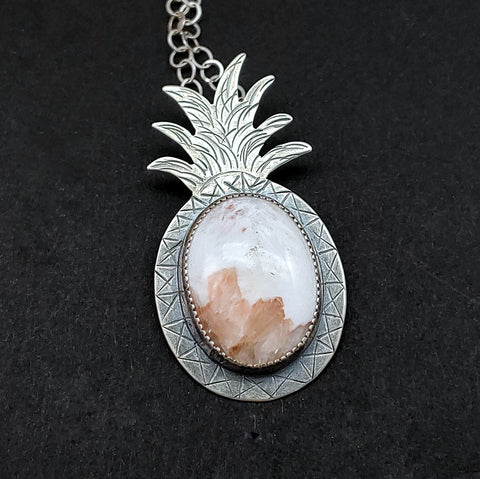 silver pineapple jewelry in white and pink