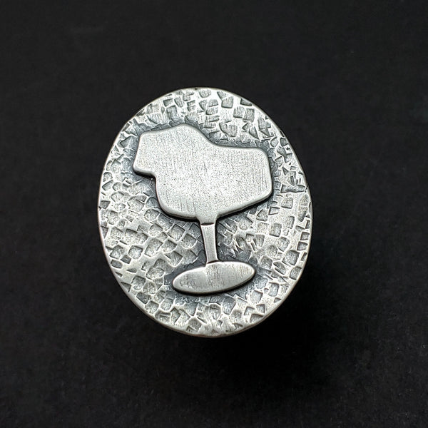 Front view of sterling silver tulip chair ring