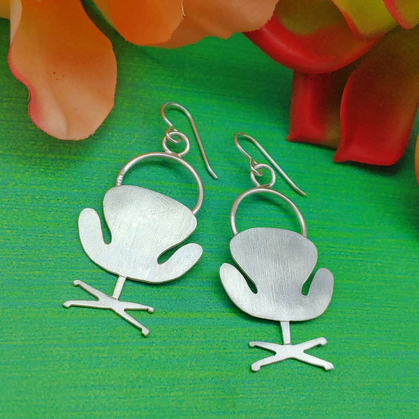 Swan chair earrings in sterling silver mid mid furniture