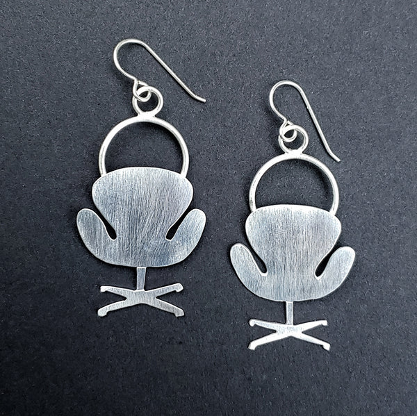 Sterling silver swan chair earrings