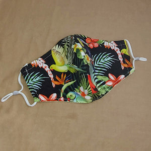 Tropical Tiki Birds & Flowers Fabric Face Mask