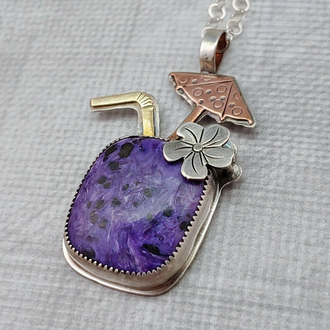 purple charoite tiki drink cocktail necklace in sterling silver copper and brass