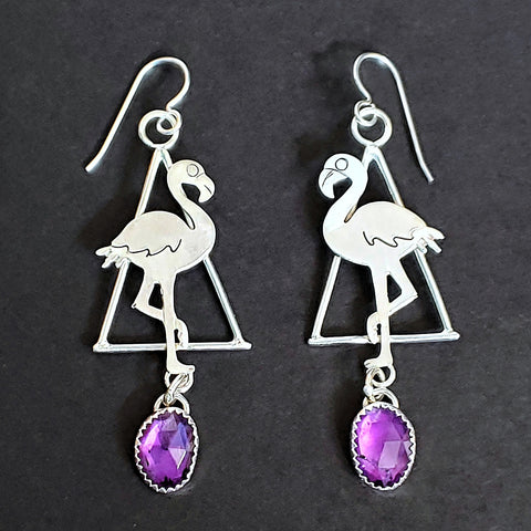 Flamingo Triangle Earrings with Amethyst