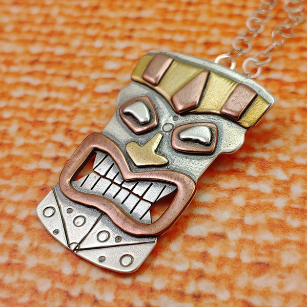 Tiki Head Necklace in Sterling Silver