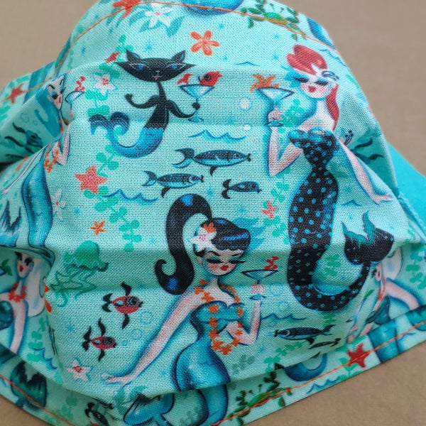 Retro Mermaids and Kitties with Martinis Fabric Face Mask - Turquoise