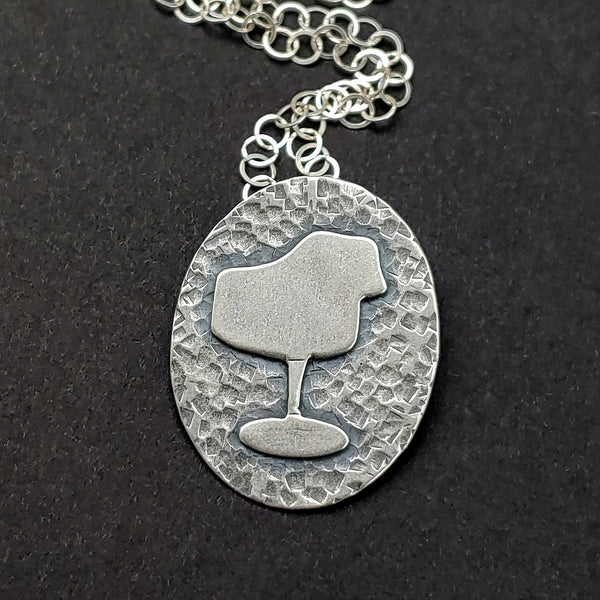 Sterling silver tulip chair necklace