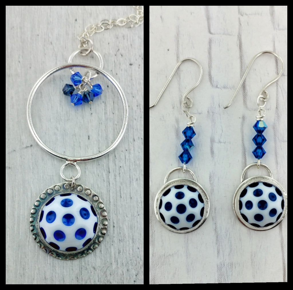 Necklace and Earrings Set with Vintage Acrylic Cabochons