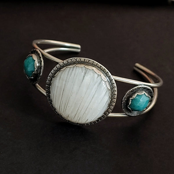 White Scolecite and Amazonite Cuff Bracelet