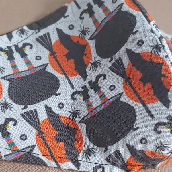 Witches Cauldron and Bats Fabric Face Mask
