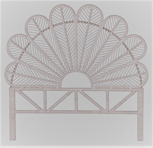 BEDHEAD RATTAN PETAL DESIGN HEADBOARD SINGLE