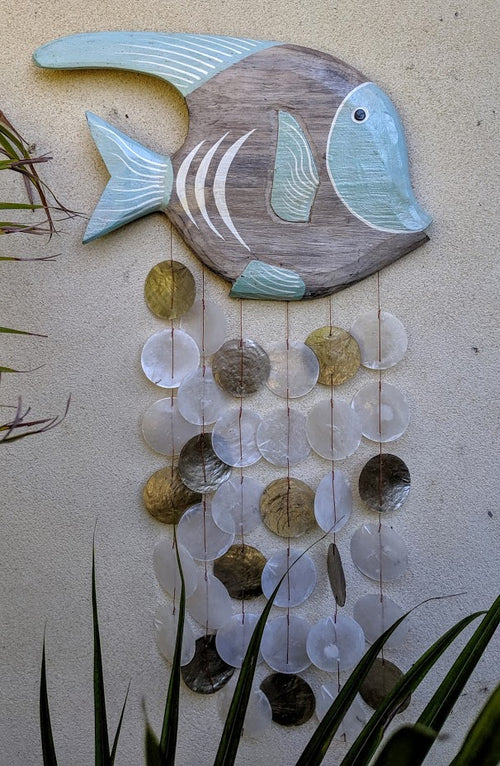Wall Hanging Windchime Fish Beach Capiz Shell Large 58cm x 37cm Aqua Blue