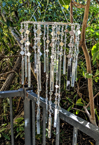 Windchime Glass and Mirror 50cm Wind Chime Decor