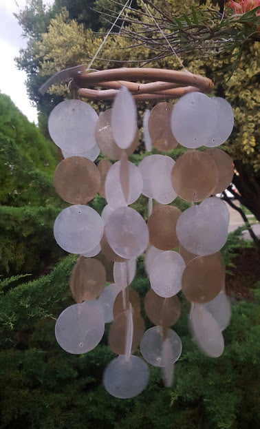 Windchime shell white and chocolate. 42cm