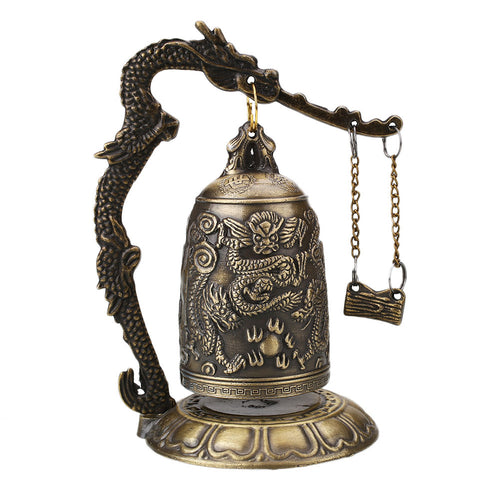 Buddhism Temple Brass Carved Statue Lotus Buddha Dragon Bell - For Prosperity and Protection