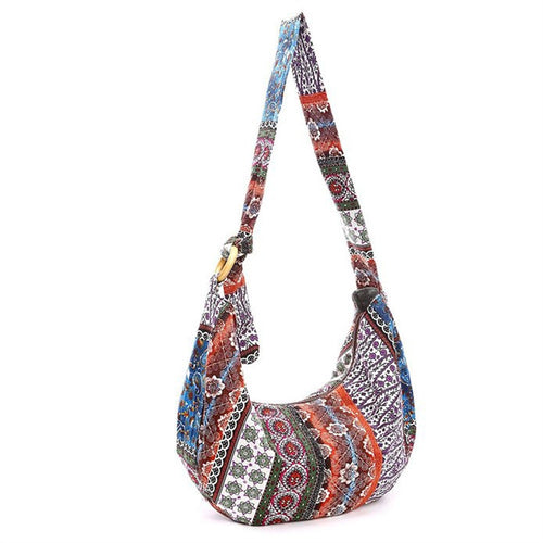 Women's Style Hippie Hobo Boho Shoulder Handbag Bag Floral Print Purse, Paisley
