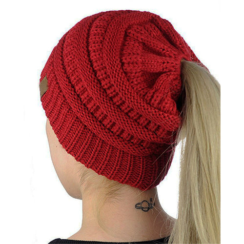 Women's Pony Tail Beanie Warm Wool Knit Slouch Cap Hat Many Colours