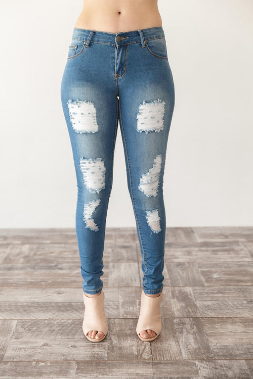TORI RIPPED JEANS | MID WASH